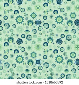colorful modern green and blue textured and decorated circles and stars pattern tile for creative surface design templates, textile, fabric, backgrounds, backdrops and wallpapers. the tile is seamless