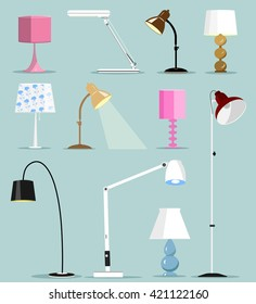 Colorful modern lamps set. Flat style vector illustration.