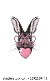 Colorful modern romantic sublimation with hare in pink colors