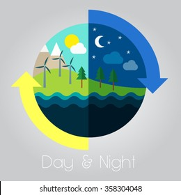 colorful modern simple flat design day and night dark and light weather forecast circulation vector illustration icon symbol logo with yellow and blue arrows and grey background