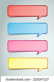 colorful modern speech bubble text box for website graphic and business, numbers, icon.