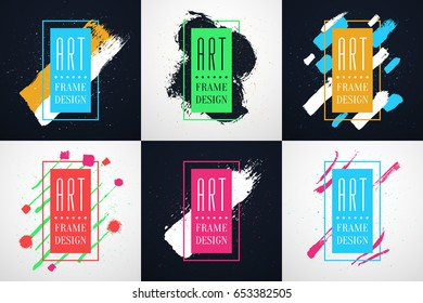 Colorful Modern style Frames brochure set with free space for text and hand-drawn brushes strokes. Vector abstract concepts of gift card design, brochure, flyer, invitation or music album art.