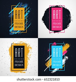 Colorful Modern style Frames with free space for text and hand-drawn brushes strokes. Vector abstract concepts of gift card design, brochure, flyer, invitation or music album art.