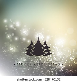 Colorful Modern Style Happy Holidays, Merry Christmas Greeting Card with Label, Christmas Tree on a Sparkling Blurred Background