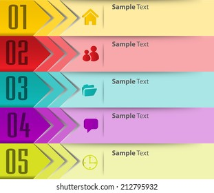 colorful modern text box template for website and graphic, numbers, icon.