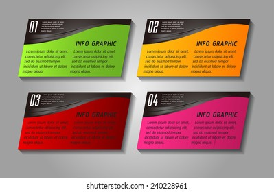 colorful modern text box template for website computer graphic and internet, numbers.