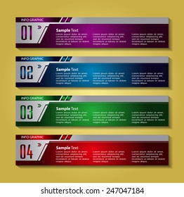 colorful modern text box template for website computer graphic technology and internet, numbers.