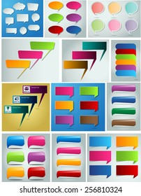 colorful modern text box template for website computer graphic and internet, numbers. Set of color frames for text or quotes. brochure. many, various. speech bubble