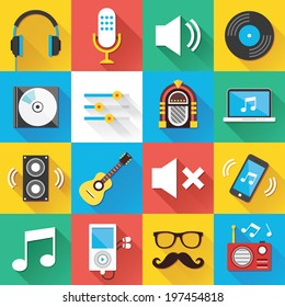 Colorful modern vector flat icons set with long shadow. Quality design illustrations, elements and concepts for web and mobile apps. Music icons, sound production icons, technology icons etc.
