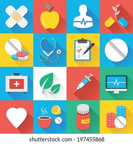 Colorful modern vector flat icons set with long shadow. Quality design illustrations, elements and concepts for web and mobile apps.Medical icons, healthcare icons, medical research icons, drugs etc.