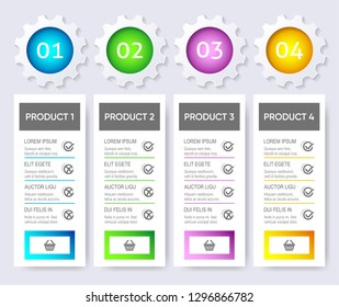 Colorful modern vector product pricing comparison design template