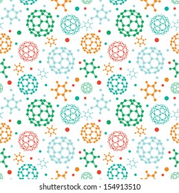 Colorful molecules seamless pattern background
