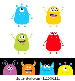 Colorful monster silhouette set. Head face. Cute cartoon scary character. Baby collection. Eyes, tongue, hands up. White black background Isolated. Happy Halloween card Flat design Vector illustration