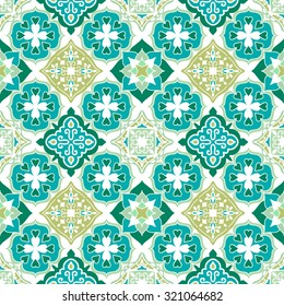 Colorful Moroccan tiles ornaments. Can be used for wallpaper, pattern fills, web page background, surface textures. Vector illustration