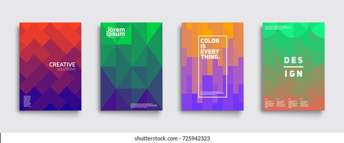 Colorful mosaic covers design. Minimalistic geometric pattern gradients. Eps10 vector.