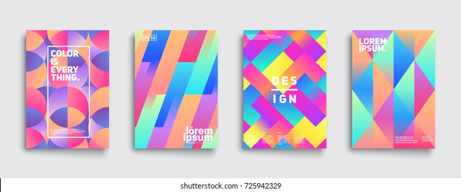 Colorful mosaic covers design. Modern gradients. Minimalistic geometric patterns. Eps10 vector.