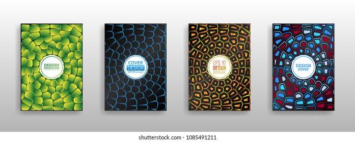 Colorful mosaic covers design. Surface geometric pattern gradients. Geometric shapes brochure template layout. Vector Illustration esp10. Voronoi texture