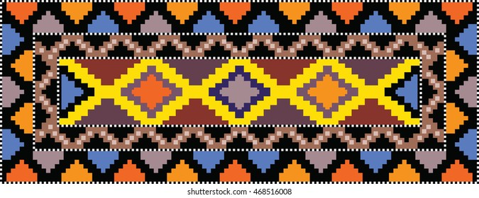 Colorful mosaic kilim rug with traditional folk geometric pattern. Carpet border frame pattern. Vector 10 EPS illustration.