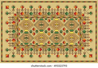 Colorful mosaic kilim rug with traditional folk geometric pattern. Tribal carpet border frame pattern. Vector 10 EPS illustration.