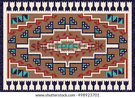 Navajo Rug Designs In Colorful Mosaic Navajo Rug With Traditional Folk Geometric Pattern Native American Indian Blanket Mosaic Rug Traditional Folk Stock Vector royalty