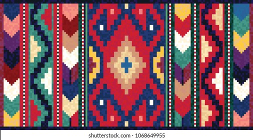 Colorful mosaic oriental kilim rug with traditional folk geometric ornament. Vector 10 EPS illustration.