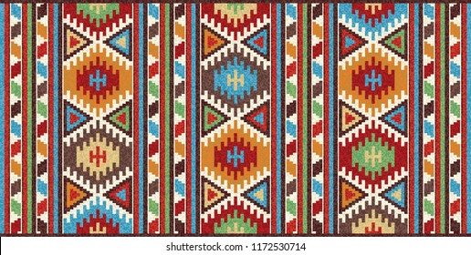 Colorful mosaic oriental kilim rug with traditional folk geometric ornament. Patterned carpet with a border frame. Vector 10 EPS illustration.