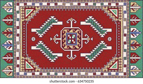 Colorful mosaic oriental kilim rug with traditional folk geometric ornament. Carpet border frame pattern. Vector 10 EPS illustration.