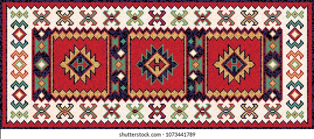 Colorful mosaic oriental kilim runner rug with traditional folk geometric ornament. Patterned carpet with a border frame. Cross stitch template. 269x111 cells. Vector 10 EPS illustration.