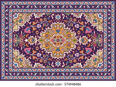 Colorful mosaic oriental rug with traditional folk geometric and floral ornaments. Carpet border frame pattern. Vector 10 EPS illustration.