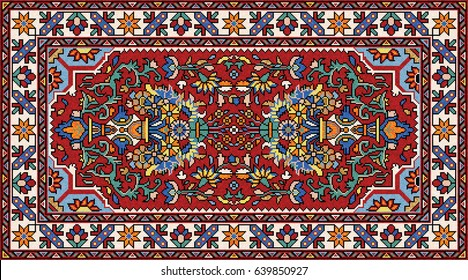 Colorful Mosaic Oriental Rug With Traditional Folk Geometric Ornament And  Floral Motifs. Carpet Border Frame