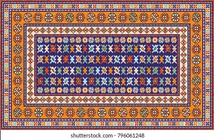 Colorful mosaic oriental rug with traditional folk geometric ornament. Patterned carpet with a border frame. Vector 10 EPS illustration.