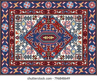 Colorful Mosaic Oriental Rug With Traditional Folk Geometric Ornament,  Central Medallion And Floral Motifs.