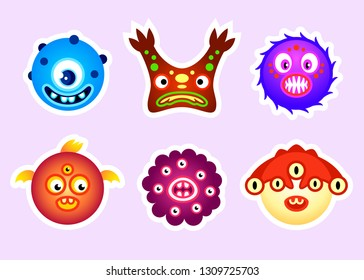 Colorful moster head stickers for kids isolated
