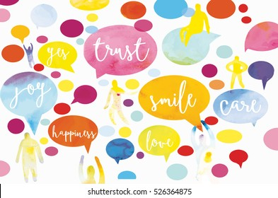 Colorful motivation speech bubbles with people silhouettes  with watercolor texture. Vector illustration in modern style