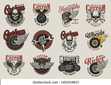 Colorful motorcycle labels with motorcyclist skulls wrenches motorbike eagle winged moto tyre helmet and steering wheel in vintage style isolated vector illustration