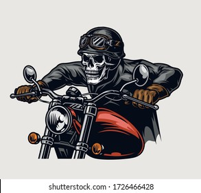Colorful motorcycle vintage concept with skull head biker in helmet and goggles riding motorbike isolated vector illustration