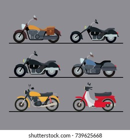 colorful motorcycles set with several models in gray background vector illustration