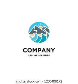 colorful mountain and waves logo icon vector