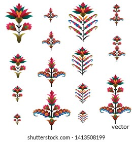 colorful mughal flower motif bunch white ground