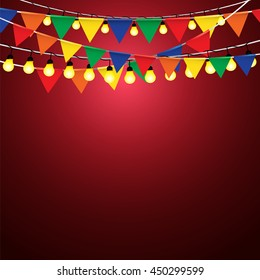 Colorful multicolored flags, Bunting, Garlands, celebration and Festoon lighting celebration on red background