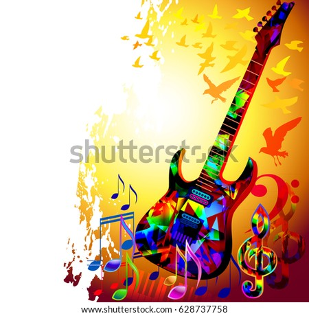 Colorful Music Background Acoustic Guitar Music Stock Vector