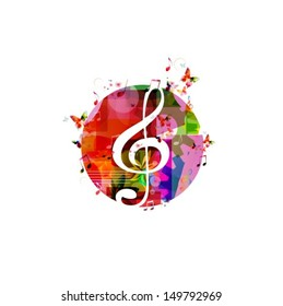 Colorful music background with butterflies