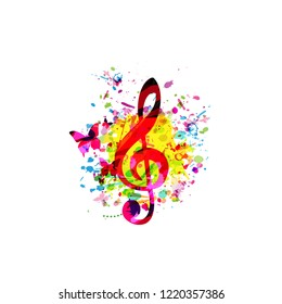 Colorful music background with G-clef vector illustration design. Artistic music festival poster, live concert, party flyer, music notes signs and symbols