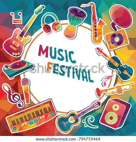 Colorful Music Background Music Instruments Music Stock Vektorgrafik