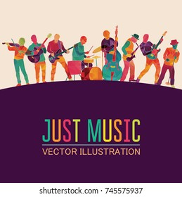 Colorful music background. Musicians silhouettes. Vector illustration