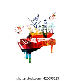 Colorful music background with piano and butterflies