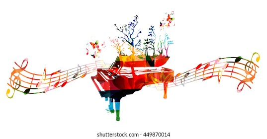 Colorful music background with piano and music notes