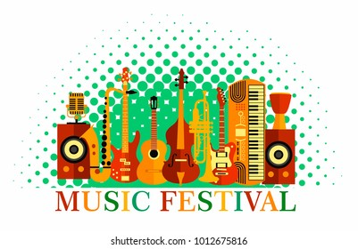 Colorful music festival background. Vector illustration banner speakers, guitar, contrabass, saxophone, drum, microphone, trumpet, synthesizer, violin, jazz, rock, blues, funk musical instruments
