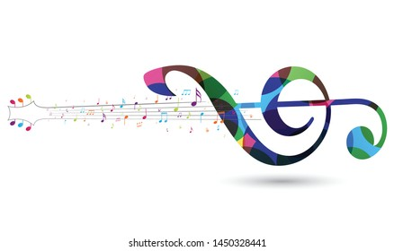 Colorful Music notes , isolated on white background