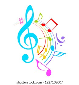 Colorful music notes vector icon illustration isolated on white background